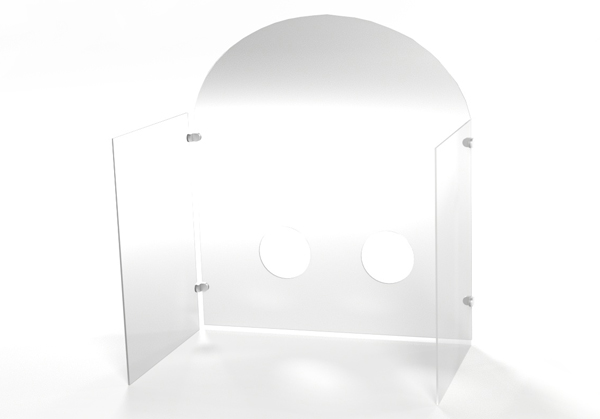 Free Standing Safety Shield With Walls and Hand Holes 1 - A
