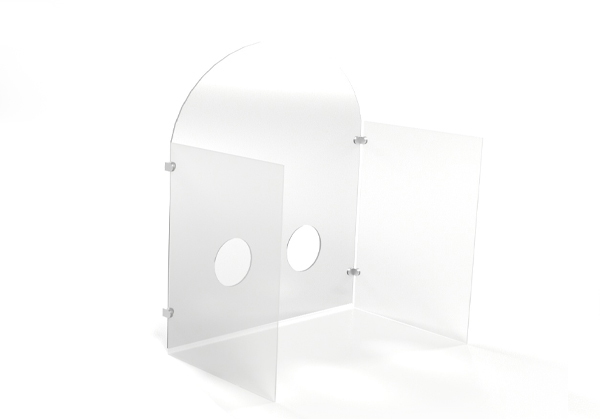 Free Standing Safety Shield With Walls and Hand Holes 1 - B